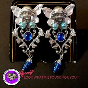 034-JJ-034-Jonette-Jewelry-Silver-Pewter-039-Fairy-Flower-Stone-Blue-039-Earrings-clip-on