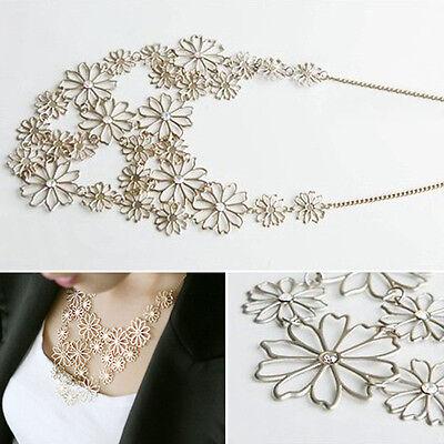 Women Fashion Gold  Chain Jewelry Flower Bib Choker Pendant Statement Necklace