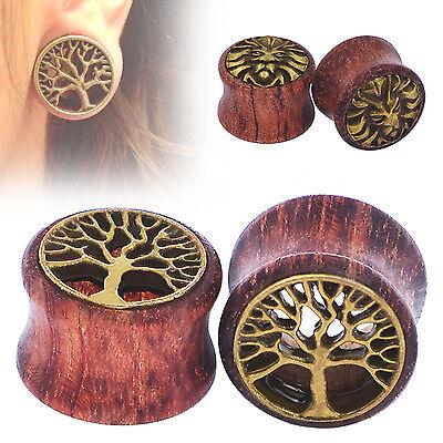 PAIR-WOOD & BRASS HOLLOW EAR TUNNELS-FLESH TUNNELS PLUGS-Body Piercing Jewelry