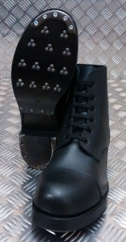 Hobnail Army Plain Boots Marching Genuine Nero British Ammo Nuovo Leather fwFxq