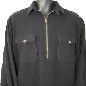 Vintage-90s-Polo-Sport-M-Black-Fleece-Half-Zip-Shirt-Carson-Elbow-Patches