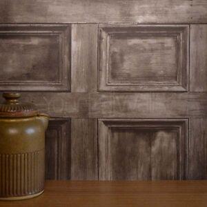Rushmore-Brown-wooden-door-Wallpaper-Wood-Plank-Effect-Wood-Panel
