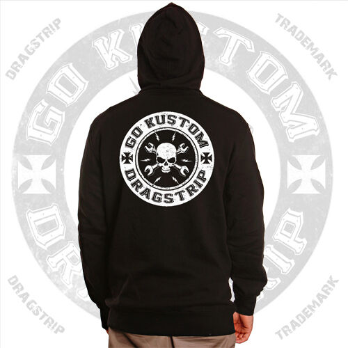 Dragstrip Clothing Go Kustom Hot Rod Hooded Top Biker Hooded Top Rat Rod Hoody