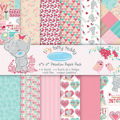 """ME TO YOU TINY TATTY TEDDY GIRL 12 X  6"""" X 6"""" SAMPLE PAPERS FOR CARDS AND CRAFTS"""