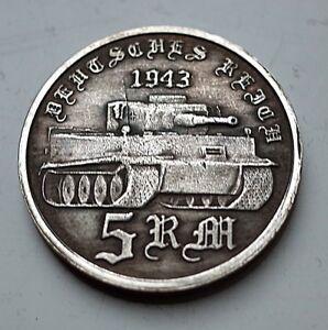 Adolf Hitler 5 reichsmarks 1943 Panzer SS tanque Tiger moneda Alemana Tercer Reich Segunda Guerra Mundial  </span>