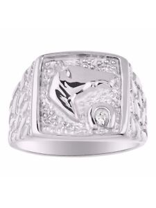 Diamond /& White Topaz Ring Sterling Silver or Yellow Gold Plated Lucky Horse Head