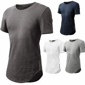 Mens-Short-Sleeves-Hipster-Hip-Hop-Round-Neck-Longline-Cut-T-shirt-Curved-Hem
