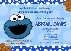 Details About Cookie Monster Baby Shower Cookie Boy Cookie Monster Baby Shower Invitation