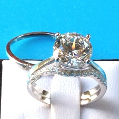 3pc Bridal Set 3.8ct 10mm Simulated Diamond 925 Sterling Silver Engagement Ring