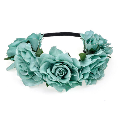 New Elastic Crown Floral Rose Flower Headband Hairband Wedding Garland Headpiece