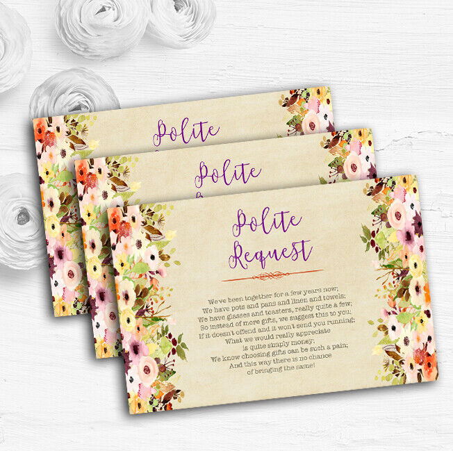 Vintage Spring Watercolour Personalised Wedding Gift Request Money Poem Cards