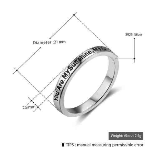 Engrave You Are My Sunshine Sterling Sliver Fairy/&Romantic Promise Rings