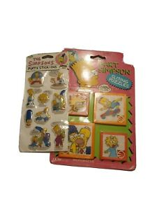 Vintage-90-039-s-The-Simpson-039-s-Puffy-Stick-Ons-And-Sliding-Puzzles-New-Old-Stock