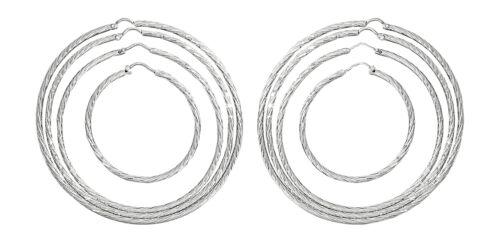 4 6,6 7,2 cm große Creolen Silber 925 funkelnd geschliffen feine Ohrringe