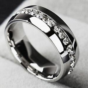 Sz4 15 Menwomen Cz Couple Stainless Steel Wedding Ring Titanium