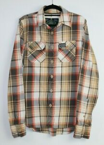 Superdry-Men-039-s-Long-Sleeve-Check-Button-Up-Shirt-Size-M