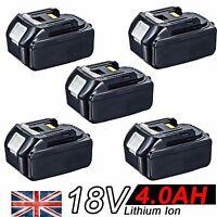 5x 4.0AH 18V Battery For Makita BL1840 BL1830 BL1815 LXT Lithium Ion Cordless