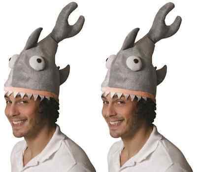 2x Grigio Squalo Jaws pesce CAPPELLO Stag Australia Giorno Fancy Dress Party Costume H00 513