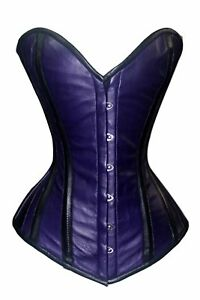 Heavy Duty Steel Boned Over bust Waist Training Genuine Leather Corset B9-L