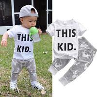 2pcs Baby Boys Kids T-shirt Tops Pants Summer Outfits Set Clothes 0-5t Us Stock