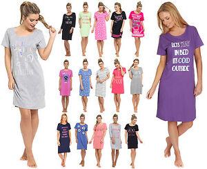 Womens Long   Short Sleeve Nightdress T Shirt Slogan Nighty Pyjamas ... 0c1f2783df