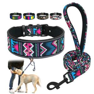 Acolchado-Moda-Colorido-Collar-de-perro-ancho-amp-Juego-De-Plomo-Para-Perros-Grandes-Pit-Bull-SML