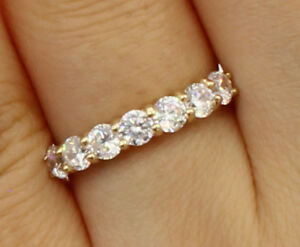 0.75 ct 14k real yellow gold seven 7 stones round wedding