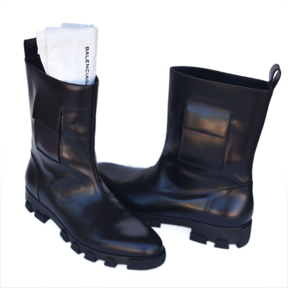 BALENCIAGA nouveau SZ 45 - 12 auth Designer Homme Chaussures en Cuir Bottes Noir 1235