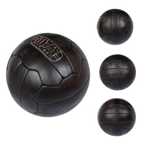 Vintage-1966-Leather-Soccer-Ball-Football-Dark-Brown