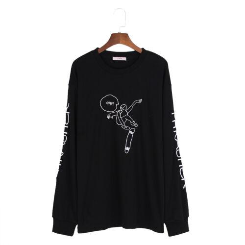 Damen Harajuku Sweatshirt T-shirt Locker Pullover Langarm Skateboard Aufdruck