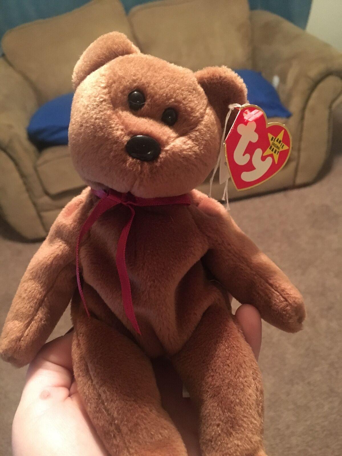 Ty Beanie Baby  TEDDY  The Bear Style 4050 - PVC - TAG ERROR 1993 1995