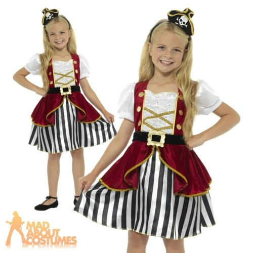 Girls Deluxe Pirate Costume Kids Caribbean Captain Childs Fancy Dress Outfit