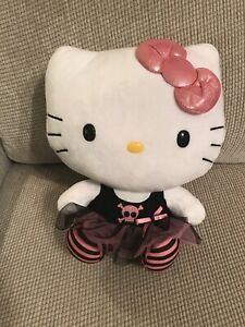 Hello-Kitty-TY-Punk-Skull-Tutu-Black-Pink-With-Shimmer-Bow-12-Stuffed-Animal