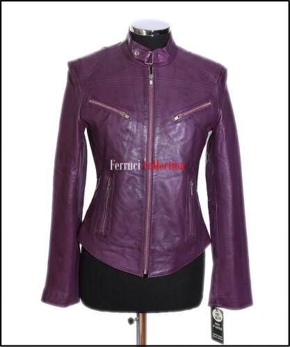 Retro Leather Biker Real Style Jacket Purple Waxed Sienna Ladies Sheep Soft tEzwf