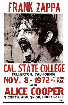 Frank Zappa-Cal..State College Nov..8th 1972 concert poster
