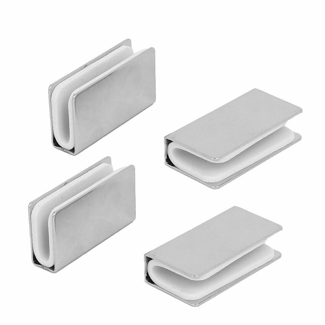 5mm Thickness Metal Rectangle Glass Shelf Clip Clamps Bracket Support 4pcs