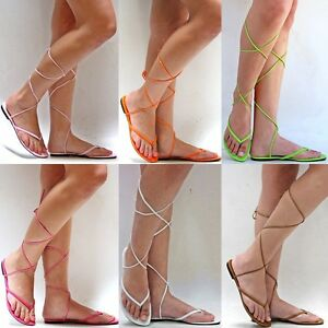 Details about New Women XP3 Green Pink Orange White Tan Gladiator Wrap Lace Up Flat Sandals