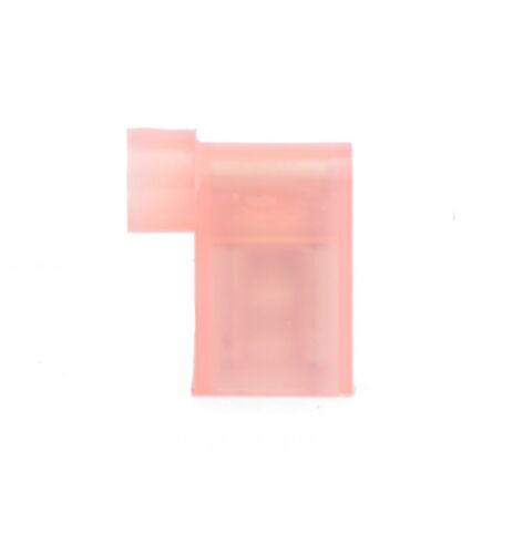 """100 Red 18-22 Ga Female .250/"""" Flag 90° Connector Fully Nylon Insulated"""
