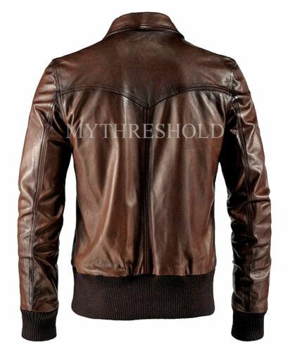 Men/'S BIKER moto vintage effetto anticato marrone Cafe Racer Leather Jacket
