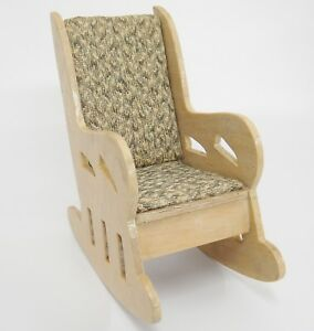 Image is loading Vintage-Homemade-Wooden-Doll-Rocking-Chair-1958-by-