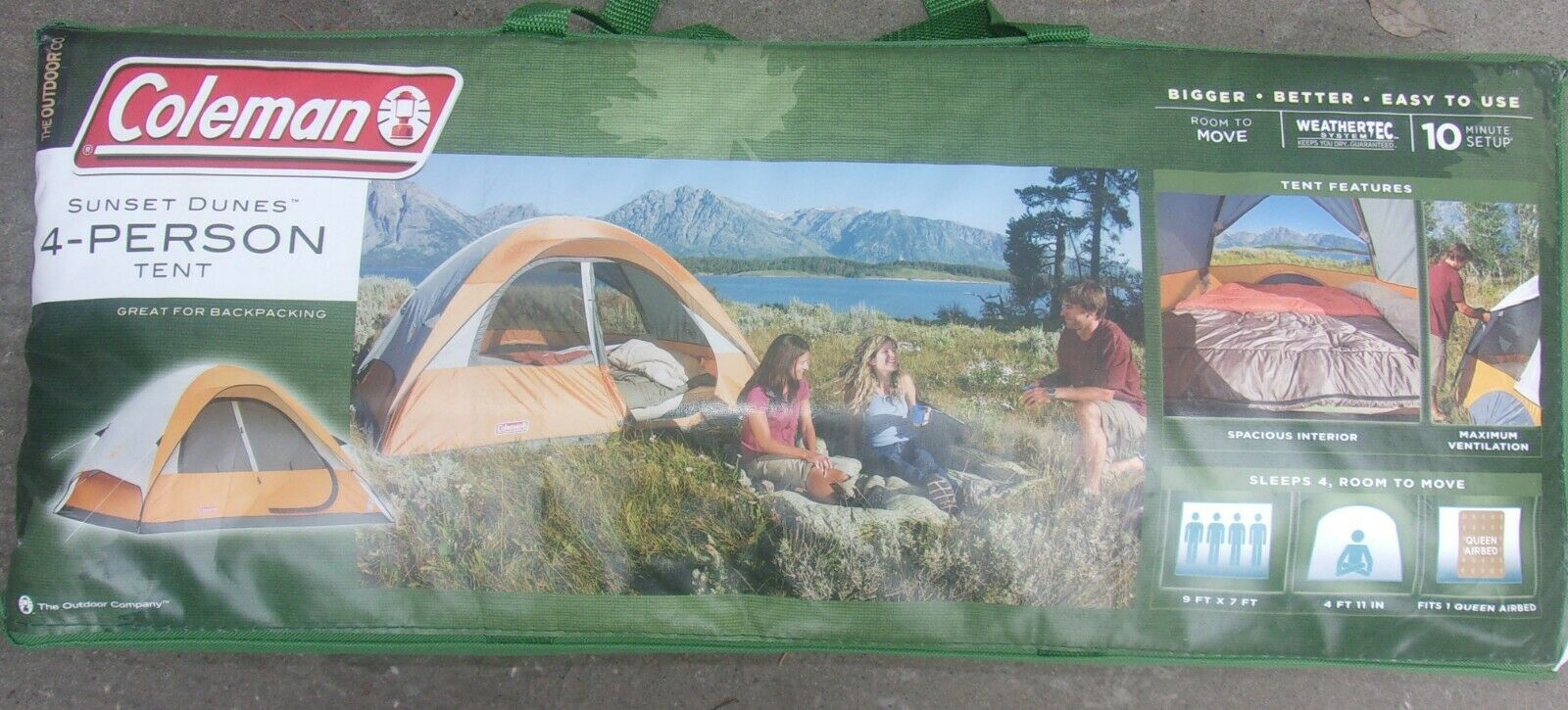 COLEMAN SUNSET DUNES 4 PERSON PERSON PERSON TENT WITH CARRYING BAG NEW NEVER USED FITS QUEEN 83ef3d