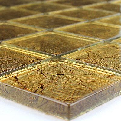 Glass Mosaic Tiles 48x48x8mm Gold Metal - 1 Sheet