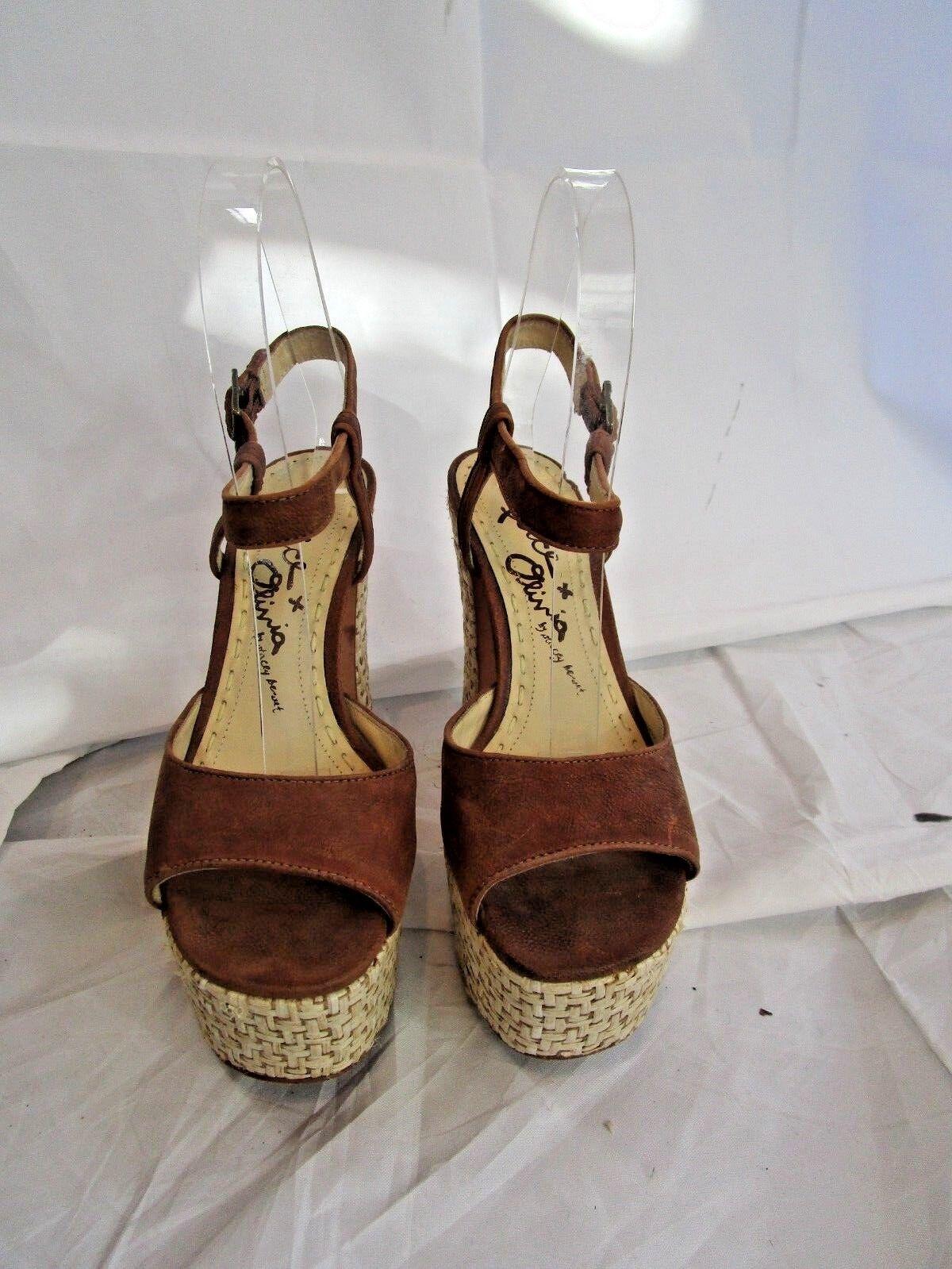 ALICE + OLIVIA braun Woven Platform Platform Platform Open Toe Heels Sandals Größe 5.5 70dd04
