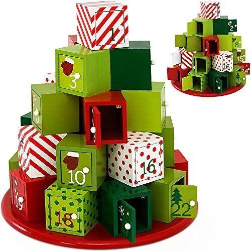 Advent Calendar réutilisable en bois decor rechargeables Bricolage Noël Compte à rebours Cadeau