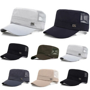Men-039-s-Mesh-Flat-Caps-Camo-Baseball-Hats-Casual-Summer-Sun-Driver-Cabbies-Solid
