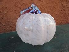 Hand Blown Glass Opaque White & Metallic Pink Pumpkin Holloween Fall Decor