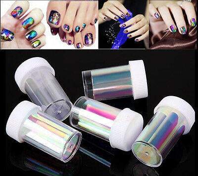 5 Colors Newest Broken Glass Foils Finger DIY Nail Art Stencil Decal Stickers