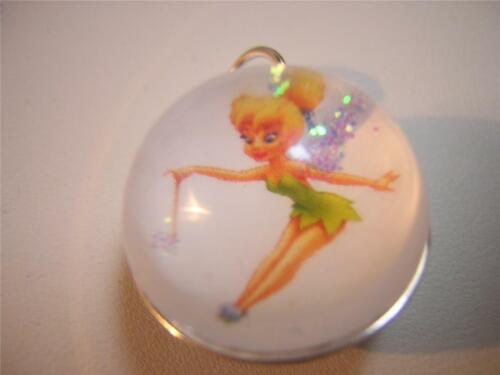 Vintage Tinkerbell Silver Dome Charm Pendant