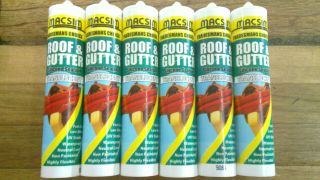 Macsim Roof and Gutter Silicone 6pk Translucent 300g