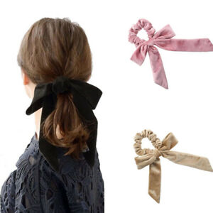 Ladies s Velvet Scrunchie Elastic Bow Headband Knot Ponytail Holder ... 209b14f80dc